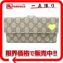 Gucci GG スプリームネオンハート two fold long wallet beige X neon yellow 323222-free 》 for 《