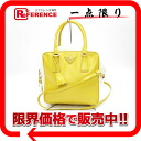 "Prada SAFFIANO VERNICE (safianoberniaatje) leather yellow 2-WAY handbag * white by color BL0864 ""enabled."""