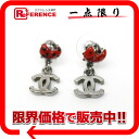 "Chanel 06P CC Ladybug earrings Silver Series x red ""support."""