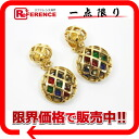 "Chanel quilted bead earrings gold / multicolor ""response."""