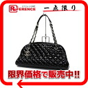 """Chanel Mademoiselle matelasse bowling bag patent leather Black Silver Gold Jig beauty products """"enabled."""""""