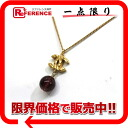 """Chanel Coco mark ball design necklace gold """"support."""""""