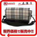 Burberry check canvas shoulder bag beige x Brown? s support.""