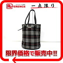 BURBERRY Burberry check bucket-type tote bag black owned