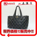 "Chanel wilds tech calfskin Tote Bag Black Matt BRACKET ""response."""