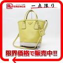 "Prada SAFFIANO LUX (safianolyukes) 2-WAY handbag ANANAS+TALCO (yellow, off-white) B2442B ""enabled."""