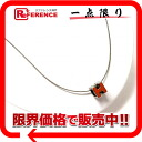 "Hermes cage ash H cube necklace Orange x Silver ""support."""