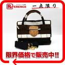 "Prada canvas x 2-WAY leather handbag White x black x Brown BN2117 ""enabled."""