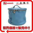 "Hermes ""Intercity"" vanity bag triyoncremans Blue Jean silver metal ""support."""