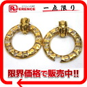 "Chanel round logo earrings gold ""support."""