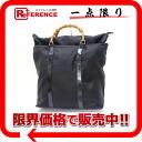 "Gucci bamboo nylon tote bag black ""response."""