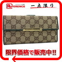 "Gucci METAL BAR (metal bar) GG W hook length wallet beige / green 112715 ""response."""
