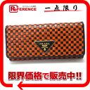 "Prada MADRAS (Madras) 2 fold wallet black × orange 1 m 1132 ""response."""