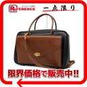 "Hermes Lorraine Bock scarf 2-WAY Handbag Black / Brown F inscribed ""support."""