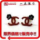 "Chanel 04P Coco make Flower Earrings red × black ""response."""