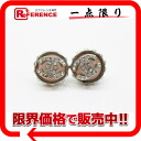 "Chanel 02 CC rhinestone earrings silver x pink ""response."""