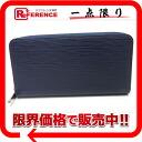 "Louis Vuitton EPI leather zip around wallet ""zippy wallet"" indigo blue M60307 ""enabled."""
