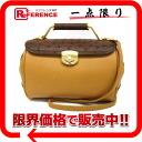 Serence ostrich × leather 2-WAY handbag-mustard yellow x Brown? s support.""