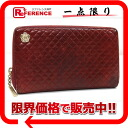 """Chanel Camellia motif lambskin quilted round zip wallet red """"support."""""""