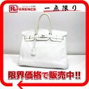 "Premier handbag Hermes ""Birkin 35"" white silver metal triyoncremans I carved ""response."""