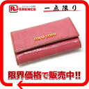 MIUMIU Miu Miu Croco embossing used 6-key case-pink 5M0222