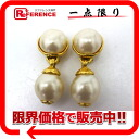 "Chanel faux Pearl Earrings gold ""support."""