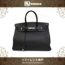 "HERMES ""Birkin 35"" Hand Bag Togo Leather Black/Silver Metal HW H-Engraved"