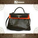 "Sew in a Hermes handbag ""Kelly 32"" with shoulder strap ヴォースイフト khaki silver bracket F inscribed ""response.""-fs3gm"