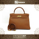 "HERMES Hand Bag ""Kelly 32"" Togo Leather Gold/Gold Metal HW C-Engraved"