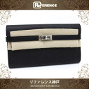 "Hermes Kelly wallet long 2 fold wallet Epson black silver metal fittings M ticking ""response."""
