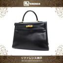 "HERMES Hand Bag ""Kelly 35"" with Shoulder Strap Boxcalf Leather Black / Gold Metal HW D-Engraved"