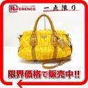"Prada nylon x yellow leather 2-WAY handbag * beige ""response."""