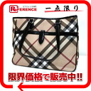 "Burberry Supernova check PVC x patent leather tote bag beige × black ""response."""