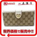 "Gucci HEART (heart) GG W hook length wallet beige / ivory 203550 ""response."""