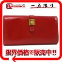 """HERMES Hermes gusseted folded wallet """"somurdianne"""" Bock scarf red / gold metal A ticking,"""