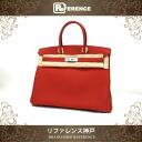 """Hermes handbags HERMES """"Birkin 35"""" slope var million Red silver bracket T ever-changing new KK"""