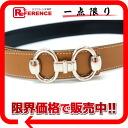 HERMES Hermes bit motif ladies belt reversible 70 kshber x Bock scarf Brown x black silver metal D ever-changing pre-owned
