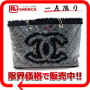 Used CHANEL Chanel patent toilet chain that small shopping bag black A47155