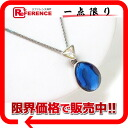 Yves Saint Laurent Yves Saint Laurent blue stone pendant necklace x clear × silver pre KK