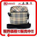 BURBERRY Burberry Blue label check shoulder bag beige × black owned