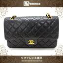 Used CHANEL Chanel lambskin matelasse 25 W chain shoulder bag black