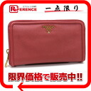 PRADA Prada SAFFIANO FRAME with saffiano leather embossing used leather wallet large zip around wallet TAMARIS (Pink) 1 m 0506