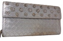 Bottega Veneta intrecciato flower L-shaped zip long wallet silver 120703 fs3gm