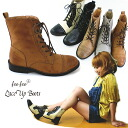 -Girly classic in fee fee 028F lace-up short impression ☆ scorched processing country boots