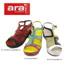 ● All three colors of [203-23nhhd] 1065 ara [ARA] ARL real leather wedge sole sandals [shopping marathon 06]