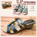 -Cool heel U.P renomaUP773 basket weave エスニックテイストミュール and sandals 3 colors