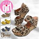 El ladies mules Sandals 2 belt thick bottom ウェッジソールミュール ELLE GIRL-