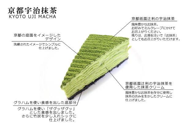 京都祇園辻利の宇治抹茶使用!抹茶の渋みを生かした本格抹茶のミルクレープ