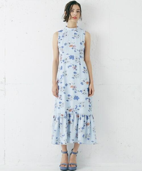 【Rosarymoon(ロザリームーン)】17RS-1111-フラワープリントロングドレス