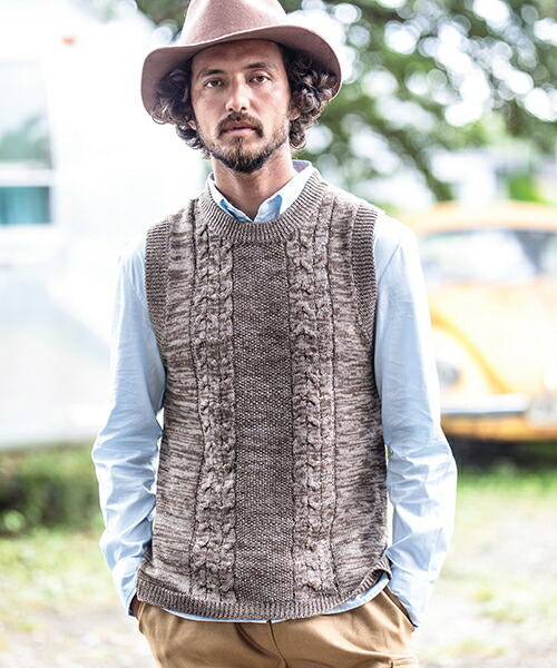 【CAMBIO(カンビオ)】Change Pattern Melange Wool Vest ベスト